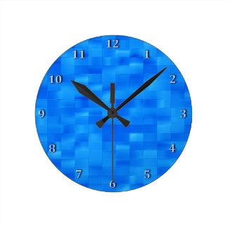 Acessório azul à moda do banheiro do azulejo do relógio para parede