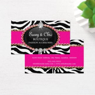 Acessório e jóia de forma chique da zebra cartão de visitas
