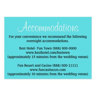 Acomodação azul do casamento da piscina - cartões cartão de visita grande