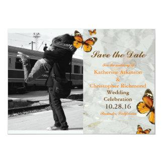 Acople o aperto no tema da estação/borboleta convite 12.7 x 17.78cm