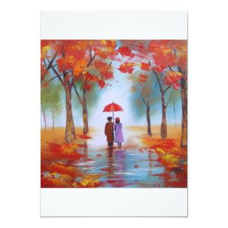 Acople o passeio em um dia chuvoso do outono da convite 12.7 x 17.78cm