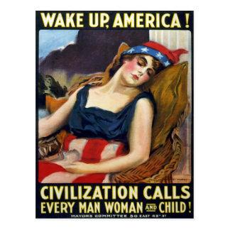 Acorde América! Poster da Primeira Guerra Mundial Cartão Postal
