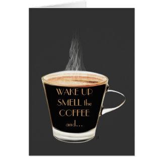 Acorde o cheiro o cartão do café