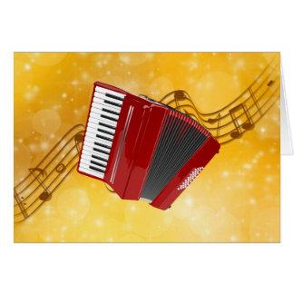 Acordeão vermelho em notas musicais cartão comemorativo