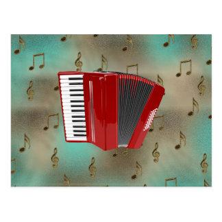Acordeão vermelho em notas musicais cartão postal