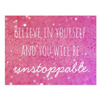 Acredite em o senhor mesmo o cartão cor-de-rosa