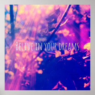 Acredite em seus sonhos, poster com raios do sol