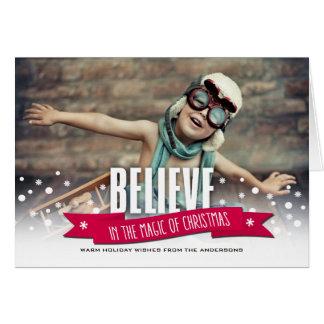 Acredite na mágica dos cartões de foto de Natal