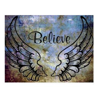 Acredite - o cartão celestial das asas do anjo