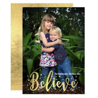 Acredite o cartão da foto do Natal da escrita do Convite 12.7 X 17.78cm