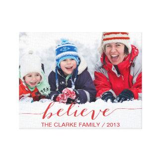 Acredite simplesmente cartões de natal impressão em canvas