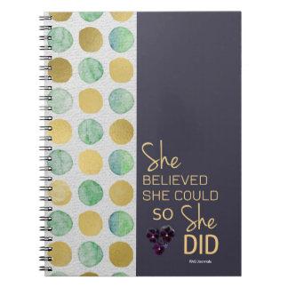 Acreditou que poderia (espiral do ouro Polca-Roxo) Cadernos Espiral