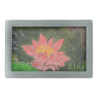 Acrílico em canvas, flor cor-de-rosa do lírio de