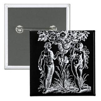 Adam e véspera e a árvore do botão do conhecimento pins