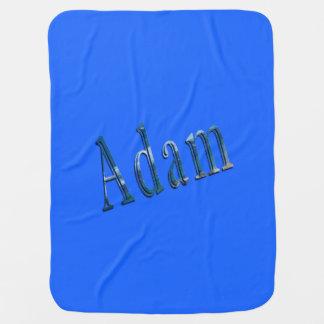 Adam, logotipo conhecido, cobertura azul dos bebés manta de bebe