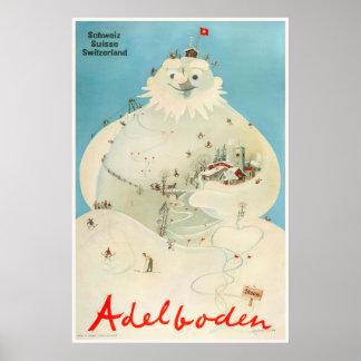 Adelboden, suiça, poster de viagens do esqui