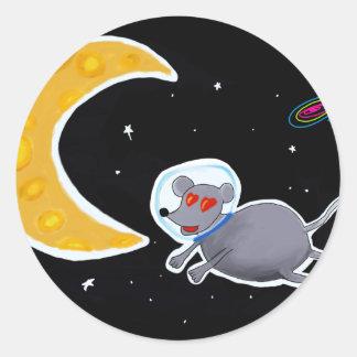 Adesivo Clássico Redondo - Mouse In Space