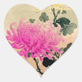 Adesivo Coração 土屋光逸 de Tsuchiya Koitsu - 菊 do crisântemo