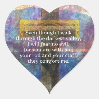 Adesivo Coração 23:4 do salmo - mesmo que eu ando através…