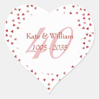 Adesivo Coração 40th Confetes dos corações do rubi do aniversário