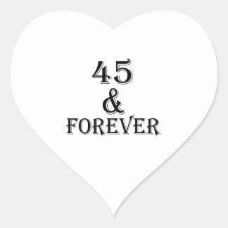 Adesivo Coração 45 e para sempre design do aniversário
