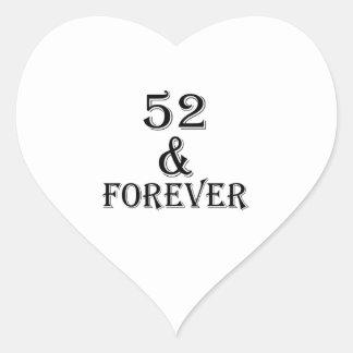 Adesivo Coração 52 e para sempre design do aniversário