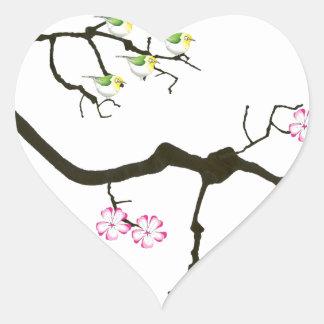 Adesivo Coração 7 flores de sakura com 7 pássaros, fernandes tony