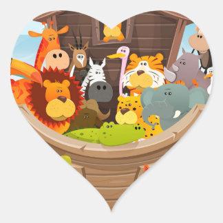 Adesivo Coração A arca de Noah com animais da selva