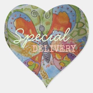 Adesivo Coração A borboleta floresce correio especial