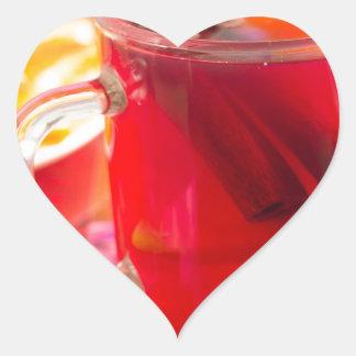 Adesivo Coração A caneca transparente com citrino mulled o vinho,