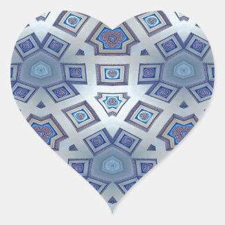 Adesivo Coração A engrenagem geométrica artística azul gosta do