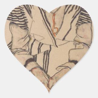 Adesivo Coração A irmã do artista de Egon Schiele- na lei