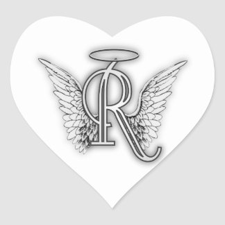 Adesivo Coração A letra inicial do alfabeto R do anjo voa o halo