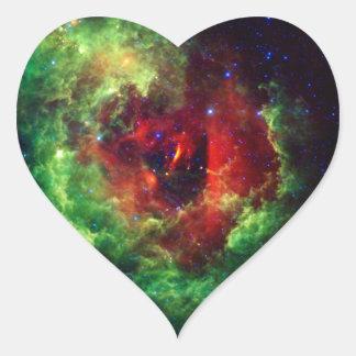 Adesivo Coração A nebulosa cor-de-rosa do Rosette dos unicórnios