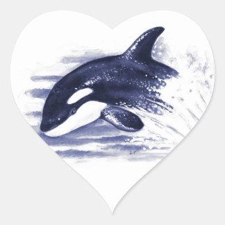 Adesivo Coração A orca do bebê salta