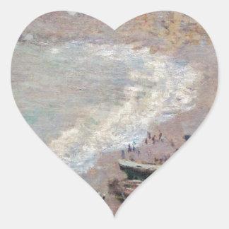 Adesivo Coração A praia em Etretat - Claude Monet
