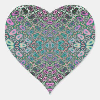 Adesivo Coração Abstrato colorido do Fractal da borboleta do