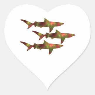 Adesivo Coração Agitação do tubarão