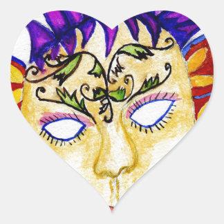 Adesivo Coração Aguarela 2 da máscara do carnaval