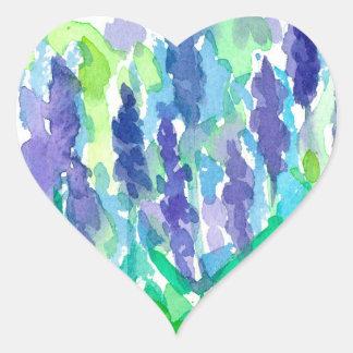 Adesivo Coração Aguarela da flor da lavanda