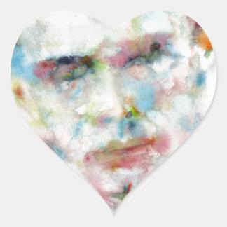 Adesivo Coração ALDOUS HUXLEY - retrato .4 da aguarela