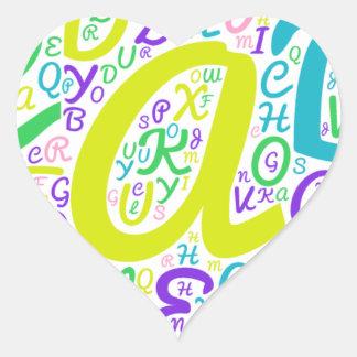 Adesivo Coração alfabeto do amor