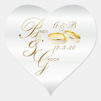 Adesivo Coração Alianças de casamento brancas do cetim e do ouro