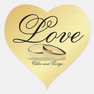 Adesivo Coração Alianças de casamento personalizadas do amor da