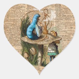 Adesivo Coração Alice, cogumelo e Jin, arte do dicionário do