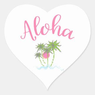 Adesivo Coração Aloha estilo havaiano Summera das praias