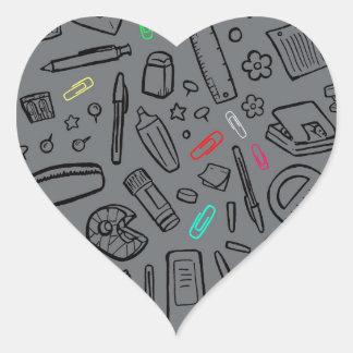 Adesivo Coração Amante dos artigos de papelaria