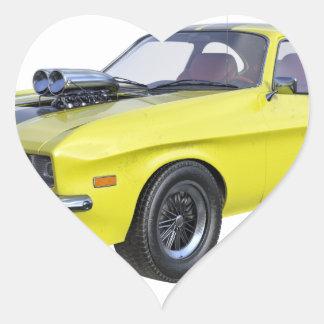Adesivo Coração Amarelo do carro de 1970 músculos com listra preta