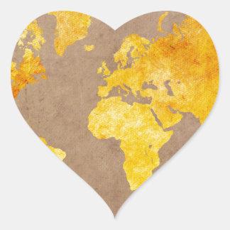 Adesivo Coração amarelo do mapa do mundo