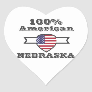 Adesivo Coração Americano de 100%, Nebraska